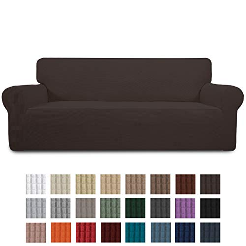 Easy-Going Stretch Sofa Slipcover 1-Piece Couch Sofa Cover Furniture Protector Soft with Elastic Bottom for Kids, Spandex Jacquard Fabric Small Checks(Sofa,Chocolate)
