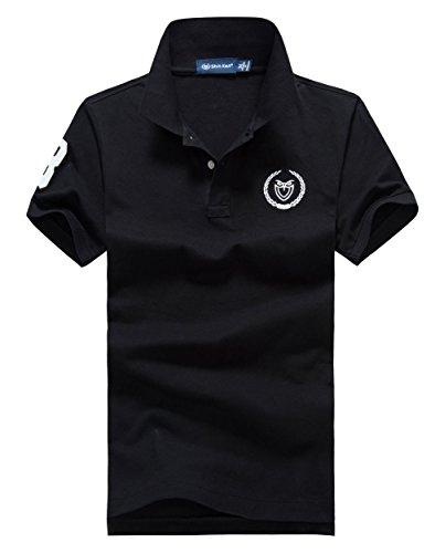 (シンアンドケン) sin&ken ポロシャツ メンズ シャツ 半袖 ポロ ゴルフウェア トップス 2XL ブラック [並行輸入品]