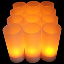 12pcs Set Flameless Rechargeable Tea Light Candles w/ Frosted Votive Holders