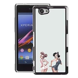 A-type Arte & diseño plástico duro Fundas Cover Cubre Hard Case Cover para Sony Xperia Z1 Compact / Z1 Mini (Not Z1) (Sexy Pinup Girls White Grey Lingerie Babe)