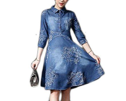 (Jiuytok Clothing Plus Size S-5XL Denim Embroidery Dress Jeans Mini Bodycon Vestidos Female Robe)