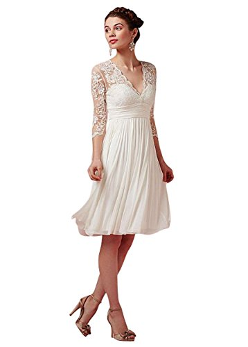 MaraBridal Cute Sheath/Column V Neck Knee Length Chiffon Lace Beach Wedding Dresses (22W, Ivory)