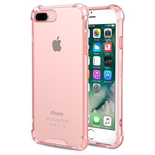 Pink Plastic Case (For iPhone 7 Plus Case / iPhone 8 Plus Case, MoKo Shock Absorption Flexible TPU Bumper Anti-Scratch Rigid Slim Protective Cases Clear Back Cover for Apple iPhone 7 Plus / 8 Plus, LIGHT PINK)