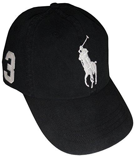 RALPH LAUREN Polo Men Adjustable Pony Logo Hat (One Size, Black/White) (Ralph Lauren Wimbledon)