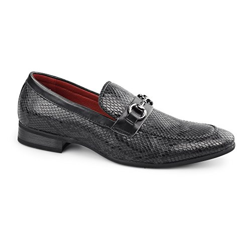 Giovanni SANTORO Mens Faux Sankeskin Buckle Loafers Black Animal Print & Black SFvtkG1