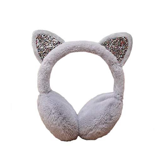 Women's Winter Warm Cat Ear Muffs Cute CatEar Earmuff for Girls (Gray) (Kids Girls Ear Muffs)