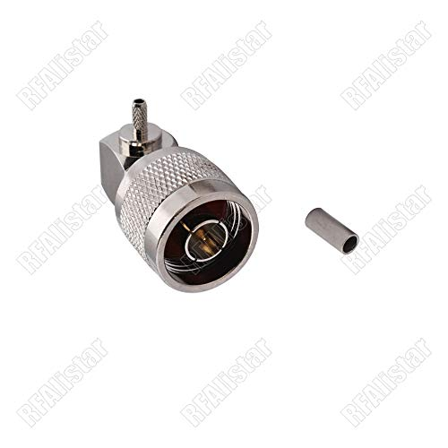 - Gimax N Type Male Plug Right Angle Crimp For RG316 RG174 RG188 Cable RF Coaxial Connector 90 degree Brass Nickel-plated