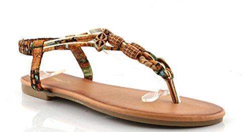 Sandalia Plana Mujer Verano, Estilo Étnico boho, chancla de dedo con cierre elástico, en color camel/marrón.