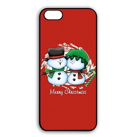 Retro Merry Christmas Snowman Couple Hard Back Case Cover for iPod Touch 6 Generation 6th, Customised ipod 6 Phone Slim Carring Cases Funny For -