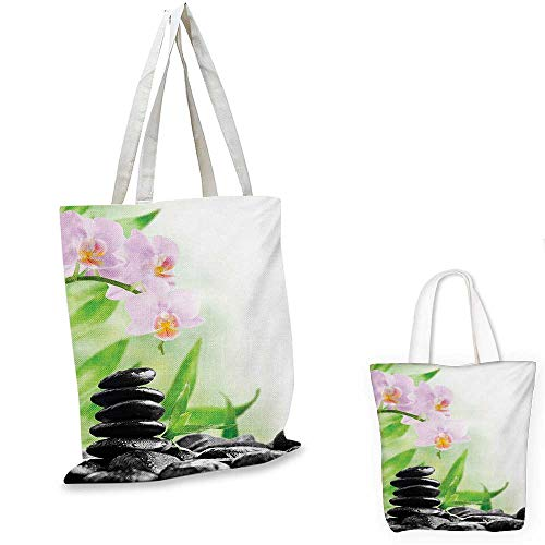 Spa portable shopping bag Zen Basalt Stones and Orchid with Dew Peaceful Nature Theraphy Massage Meditation shopping bag for women Black Pink Green. 15