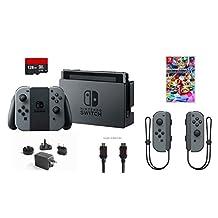 Nintendo Switch 6 items Bundle:Nintendo Switch 32GB Console Gray Joy-con,128GB Micro SD Card Nintendo Joy-Con (L/R) Wireless Controllers Gray,Mario Kart 8 Deluxe Mytrix HDMI Cab(US Version, Imported)