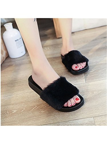Black Slipper Jwhui Fluffy Female Slip Women Faux Flop Sandal Flip Fur Fashion Non Slipper Women Casual Comfort Plush xqRf4Tx