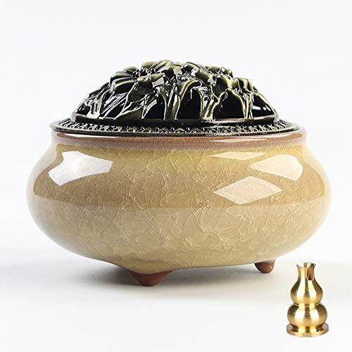 (Zaoniy Ceramic Home Incense Burner with Fireproof Cotton,Porcelain Incense Holder,Porcelain Charcoal Censer for Use with Resin Granular Powder Cone or Coil Incense (Yellow))