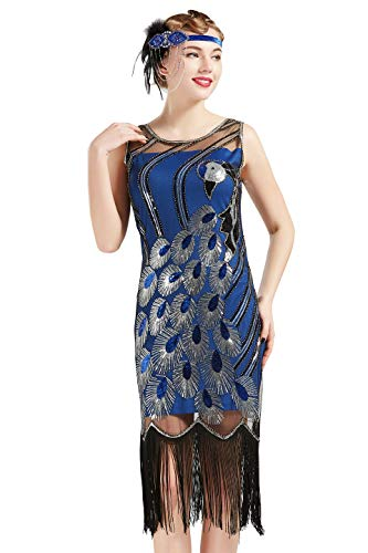 BABEYOND 20's Vintage Peacock Sequin Fringed Party Flapper Dress (Blue with Black Fringe, Large) ()