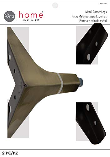 Dritz Home 44707-38 Metal Corner Legs, Antique Brass 2 Count from Dritz
