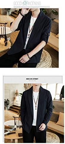 個性 シャツ メンズ 半袖 開襟シャツ カジュアル ゆったり 無地 和風 綿 大きいサイズ 夏 春秋 M長袖 ブラック