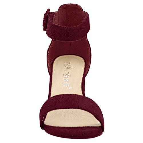 Cinturino Con Alla Caviglia Sandali Largo Donna K EU Tacco Allegra Bordeaux 44 Donna Marrone RCqUYw