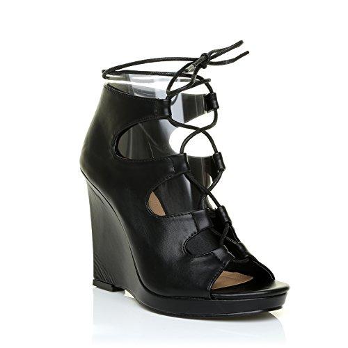 ShuWish UK Lena Black PU Leather Lace up Peep Toe Low Platform Wedges v4KbE