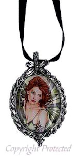Marjolein Gulinski Fairy Erlina Pewter Cameo Necklace Faery Green Wings