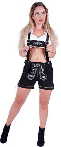 Almwerk Damen Trachten Lederhose kurz Modell Heidi, Größe Damen:XXL - Größe 44;Farbe:Braun