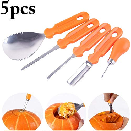 Pumpkin Carving Kit, 5 Pcs Stainless Steel Pumpkin Carving Kit Tools Set for Halloween Crafts