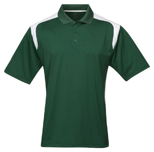 Tri-Mountain Men's Big and Tall Rib Collar Golf Shirt, Forest Green/White, XLT