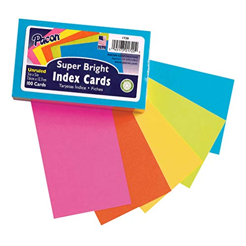 "Pacon PAC1720 Index Cards, 3"" x 5"", Unruled, 5 Bright Colors, Pack of 100"