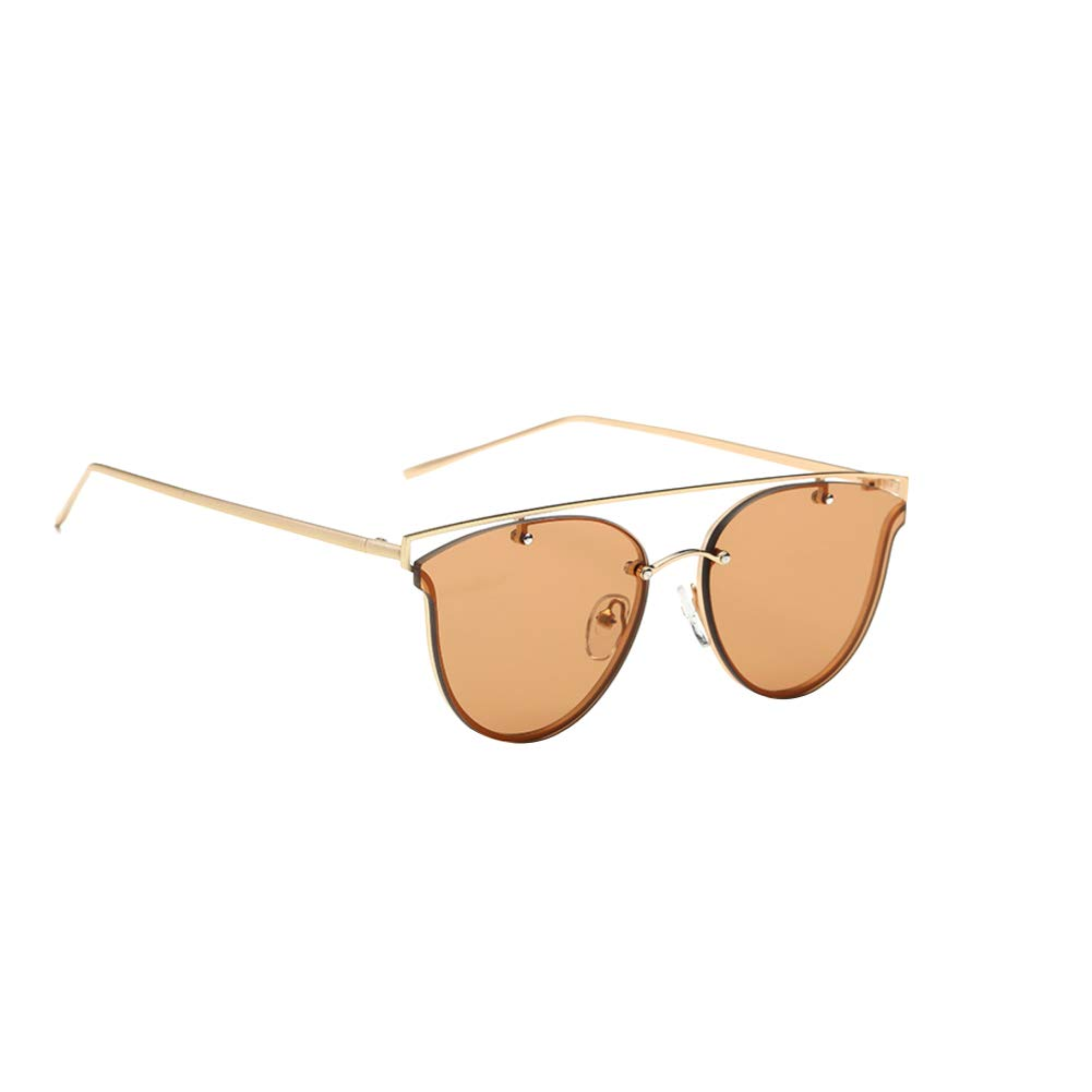 Fashion Unisex Sunglasses Lightweight Aviator Sunglasses Flat Oval Frameless UV Protection Sunglasses Golden and Brown