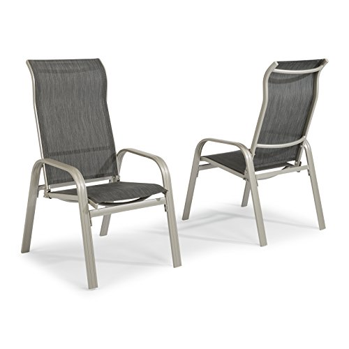 Home Styles 5700-812 South Beach Pair of Sling Arm Chairs, Gray Powder Coat Finish - Gray Coat Arms