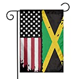 American Jamaican Flag Garden Flag Great Party Decor For Celebration,Festival,Home,Outdoor,Garden Decorations 12 X 18 Inch
