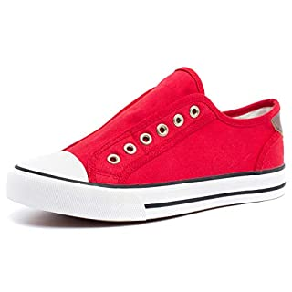 ZGR Womens Canvas Shoes Slip Fashion Sneakers(Red,US8)