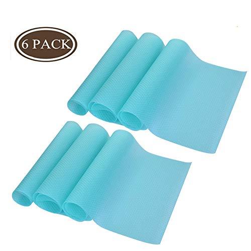 Refrigerator Pad Can Be Cut Refrigerator Mats 6 PCS Antibacterial Antifouling Mildew Moisture Absorption Pad Multifunctional Vegetable Fruits Fresh Pad Fridge Pads Drawer Table Placemats Blue
