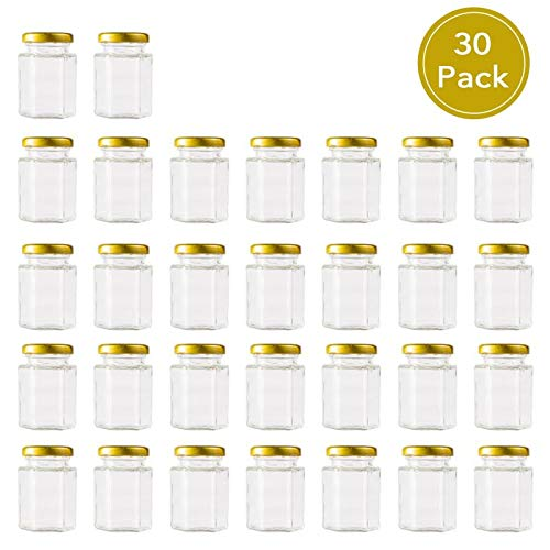 ef0478ca7394 Encheng 4 oz Clear Hexagon Jars,Small Glass Jars With Lids(Golden),Mason  Jars For Herb,Foods,Jams,Liquid,Spice Jars For Storage 30 Pack