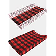 2 Piece Changing pad Cover Set in Black and Red Buffalo Plaid Fleece and Black Arrows by Woodland Baby Co. - Handmade in The USA