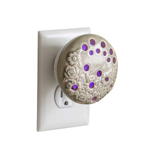 Airomé Bloom Pluggable Essential Oil Diffuser, Ceramic Cover with 8 Color LED Night Light Wall Plug in, Sage Green Floral Glazed