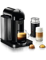 Nespresso Vertuo Coffee and Espresso Machine Bundle with Aeroccino Milk Frother by Breville, Black