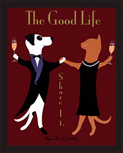 'THE GOOD LIFE' Dog Cat Champagne Wine Humor animal art FRAMED PRINT - Ken Bailey - Champagne Bailey