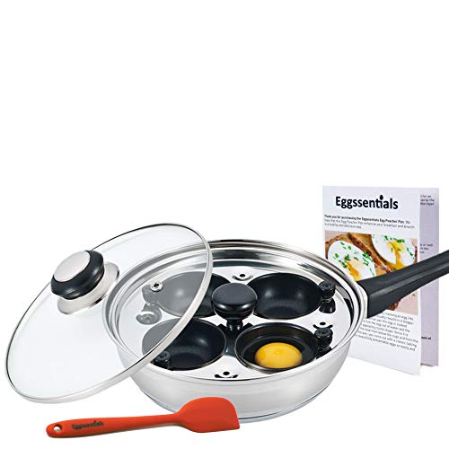 Eggssentials Poached Egg Maker - Nonstick 4 Egg Poaching Cups - Stainless Steel Egg Poacher Pan FDA Certified Food Grade Safe PFOA Free With Bonus Spatula by PremiumWares (Image #3)
