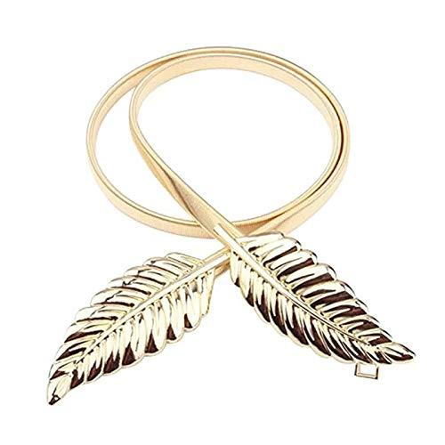 Satyam Kraft Golden Diva Dainty Leaves Golden Skinny Stretch Metal Belt For Women/Girls product image