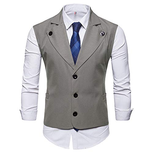 Tweed Coat Lined Fully (Koolsants Mens Formal Business Vest Fully Lined 3 Button V-Neck Economy Dressy Suit Vest Waistcoat Gray)
