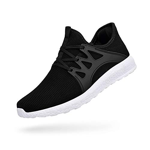 - QANSI Men's Casual Shoes Fashion Sneakers Fly Knittted Flexible Athletic Sports Running Gym Shoes Black/White Size 10.5