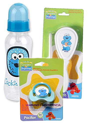 (Sesame Beginnings Cookie Monster Baby Feeding & Grooming Set - Includes 9 oz Bottle, Pacifier, Brush and Comb - Great Baby Shower Gift)