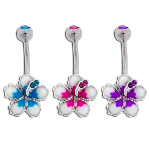 """Lotus Flower Belly Ring, 14G 3/8"""", PURPLE; sold individually"""