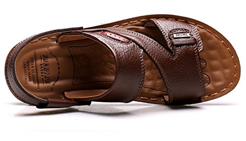 Vocni Mens Casual Outdoor Adult Fashion Leather Comfort Summer Shoes Sandals Brown utUSTrs2