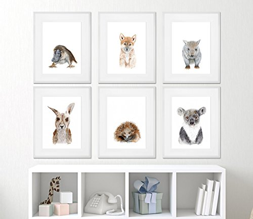 Set of Framed Aussie Animal Prints - Outback Nursery Prints - Framed ...