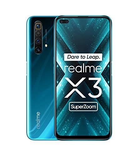 realme X3 Super Zoom, smartphone de 6.5″, 8GB de RAM + 128GB de ROM, procesador OctaCore, cuádruple cámara 64MP AI, dual sim, Azul (Glacier Blue) [Versión ES/PT]