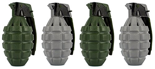 Set of 4 Velocity Toys Army Peace Keeper Battery Operated Pretend Play Toy Grenades (Colors May Vary)