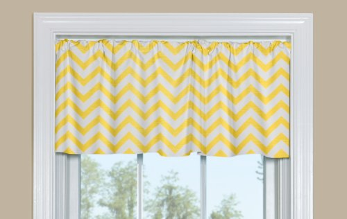 chevron kitchen window valance zig zag yellow slub 50 w