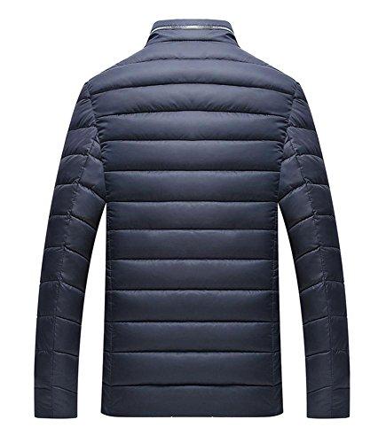 Zippered Stand Jacket Padded Winter Outerwear Warm blue L Casual Collar Men Cotton 4XL Navy FBAX8Fnq