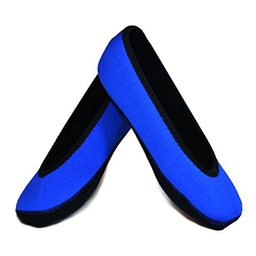 NuFoot Ballet Flats Women's Shoes, Best Foldable & Flexible Flats, Slipper Socks, Travel Slippers & Exercise Shoes, Dance Shoes, Yoga Socks, House Shoes, Indoor Slippers, Royal Blue, Extra Large